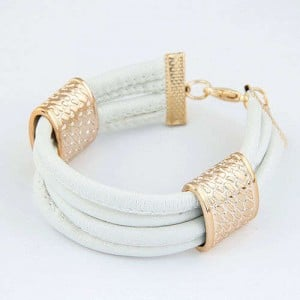 Golden Alloy Decoration Embellished Four Layers Leather Texture Women Fashion Bracelet - White