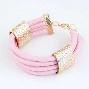 Golden Alloy Decoration Embellished Four Layers Leather Texture Women Fashion Bracelet - Pink