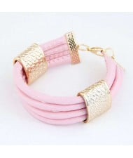 Golden Alloy Decoration Embellished Four Layers Leather Texture Women Fashion Bracelet - Pink