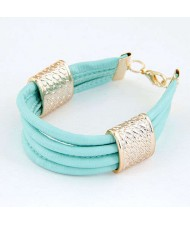Golden Alloy Decoration Embellished Four Layers Leather Texture Women Fashion Bracelet - Teal
