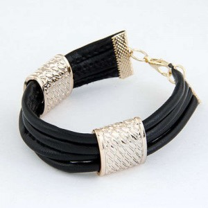 Golden Alloy Decoration Embellished Four Layers Leather Texture Women Fashion Bracelet - Black