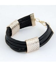 Golden Alloy Decoration Embellished Four Layers Leather Texture Women Fashion Bracelet - Black