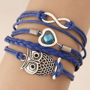 Night Owl and Infinitive Sign Pendants Multi-layer Weaving Rope Women Fashion Bracelet