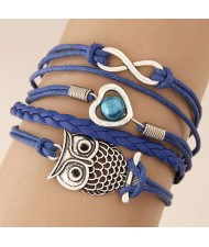 Night Owl and Infinitive Sign Pendants Multi-layer Weaving Rope Women Fashion Bracelet