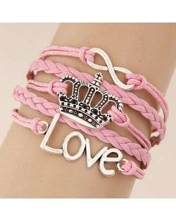 Love Alphabets and Vintage Crown Pendants Multi-layer Weaving Rope Women Fashion Bracelet