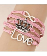 Love Alphabets and Vintage Crown Pendants Multi-layer Weaving Rope Women Fashion Bracelet