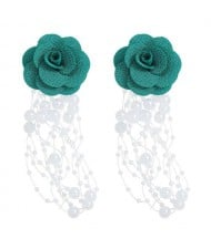 Cloth Flower Pearl Tassel Bohemian Fashion Graceful Women Costume Earrings - Green