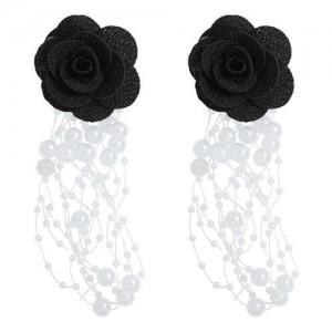 Cloth Flower Pearl Tassel Bohemian Fashion Graceful Women Costume Earrings - Black