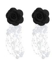 Cloth Flower Pearl Tassel Bohemian Fashion Graceful Women Costume Earrings - Black