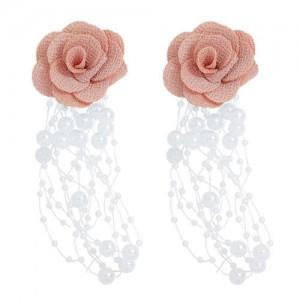 Cloth Flower Pearl Tassel Bohemian Fashion Graceful Women Costume Earrings - Pink