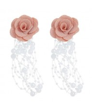 Cloth Flower Pearl Tassel Bohemian Fashion Graceful Women Costume Earrings - Pink