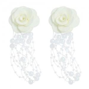 Cloth Flower Pearl Tassel Bohemian Fashion Graceful Women Costume Earrings - White