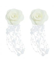 Cloth Flower Pearl Tassel Bohemian Fashion Graceful Women Costume Earrings - White