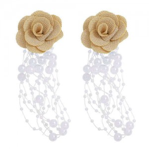 Cloth Flower Pearl Tassel Bohemian Fashion Graceful Women Costume Earrings - Brown