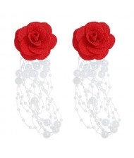 Cloth Flower Pearl Tassel Bohemian Fashion Graceful Women Costume Earrings - Red