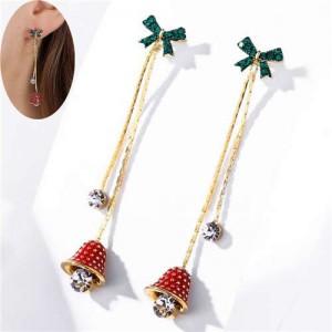 Czech Rhinestone Green Bowknot Decorated Sweet Bell Design Tassel Fashion Women Earrings