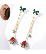 Czech Rhinestone Green Bowknot Decorated Sweet Bell Design Tassel Fashion Women Earrings