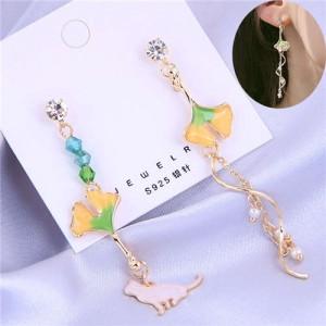 Oil-spot Glazed Leaves Cat and Swirling Design Pendants Asymmetric Tassel Fashion Women Earrings