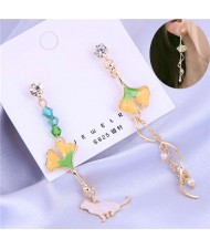 Oil-spot Glazed Leaves Cat and Swirling Design Pendants Asymmetric Tassel Fashion Women Earrings