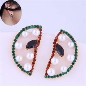 Czech Rhinestone and Pearl Embellished Sweet Watermelon Slice Design Korean Fashion Women Stud Earrings