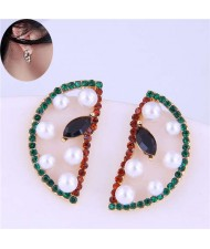 Czech Rhinestone and Pearl Embellished Sweet Watermelon Slice Design Korean Fashion Women Stud Earrings