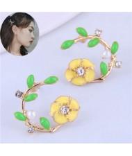 Korean Fashion Enamel Spring Flower Design Alloy Women Costume Earrings - Yellow