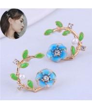 Korean Fashion Enamel Spring Flower Design Alloy Women Costume Earrings - Blue