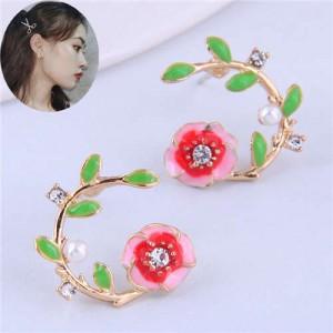 Korean Fashion Enamel Spring Flower Design Alloy Women Costume Earrings - Red