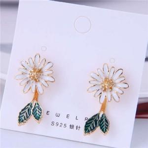 Korean Fashion Enamel Daisy Design Quality Style Women Stud Earrings - White