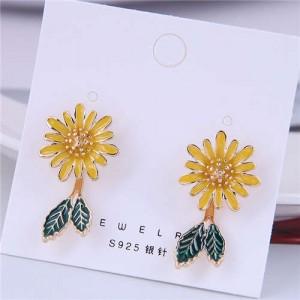 Korean Fashion Enamel Daisy Design Quality Style Women Stud Earrings - Yellow