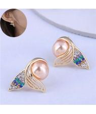 Czech Rhinestone and Pearl Embellished Mermaid Tail Design High Fashion Women Stud Earrings