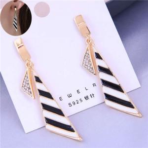 Black and White Stripes Oil-spot Glazed Geometric Design Korean Fashion Women Alloy Earrings