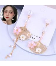 Flower and Pearl Embellished Golden Fan Design Asymmetric Tassel Fashion Women Earrings