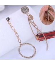 Czech Rhinestone Embellished Hoop and Chain Tassel Asymmetric Alloy Women Fashion Earrings