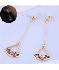 Colorful Czech Rhinestone Inlaid Fan Shape Pendants Golden Tassel Women Earrings