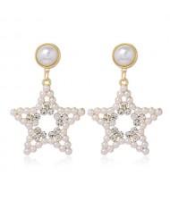 Rhinestone and Artificial Pearl Star Design High Fashion Women Costume Earrings