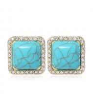 Rhinestone Rimmed Resin Gem Inlaid Simple Fashion Women Costume Stud Earrings - Blue