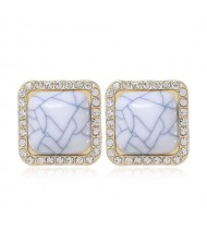 Rhinestone Rimmed Resin Gem Inlaid Simple Fashion Women Costume Stud Earrings - White