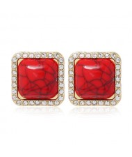 Rhinestone Rimmed Resin Gem Inlaid Simple Fashion Women Costume Stud Earrings - Red