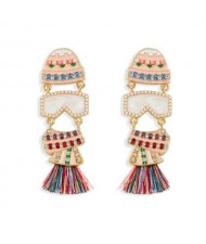 Creative Cartoon Fish Design Handmade Women Tassel Earrings