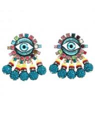 Rhinestone Embellished Creative Eye Design Zinc Alloy Women Stud Earrings