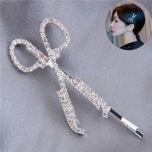 Shining Rhinestone Scissors Design Alloy Women Hair Barrette - Silver
