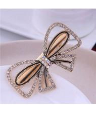 Rhinestone Embellished Korean Fashion Shining Bowknot Design Alloy Women Hair Barrette