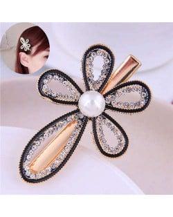Rhinestone Inlaid Flower High Fashion Alloy Women Hair Barrette