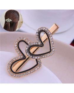 Rhinestone Twin Hearts Design Korean Fashion Alloy Women Hair Barrette
