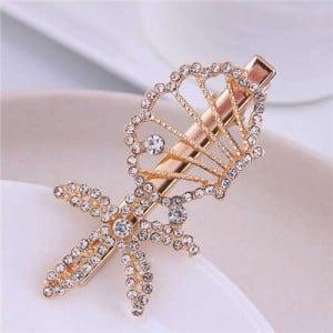 Rhinestone Embellished Starfish and Seashell Combo Design Korean Fashion Women Alloy Hair Barrette