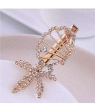 Rhinestone Embellished Starfish and Seashell Combo Design Korean Fashion Women Alloy Hair Barrette