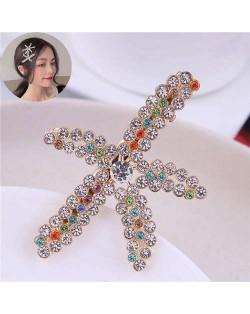 Colorful Rhinestone Embellished Starfish High Fashion Women Alloy Hair Barrette