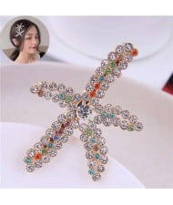 Colorful Rhinestone Embellished Starfish High Fashion Women Alloy Hair Barrette