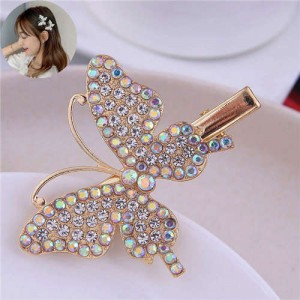 Luminous White Rhinestone Embellished Butterfly Decorated High Fashion Women Alloy Hair Barrette